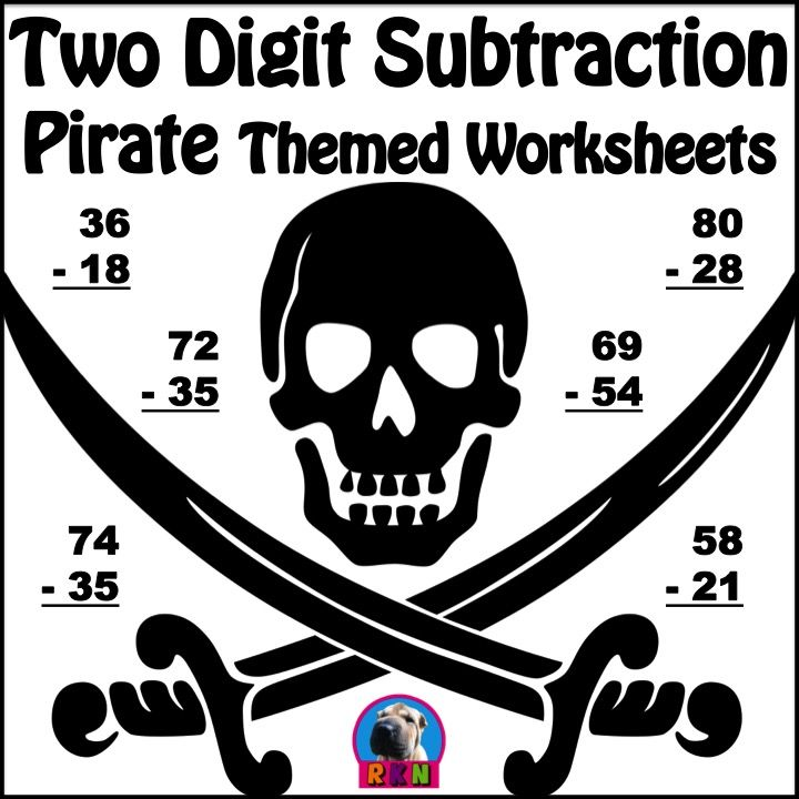 Two Digit Subtraction - Pirate Themed Worksheets - Vertical ...