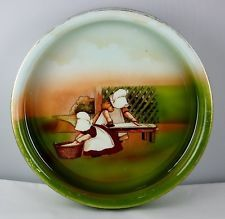 """Royal Bayreuth Sunbonnet Babies Round Baby Dish Plate-  """"Tuesday Ironing"""""""