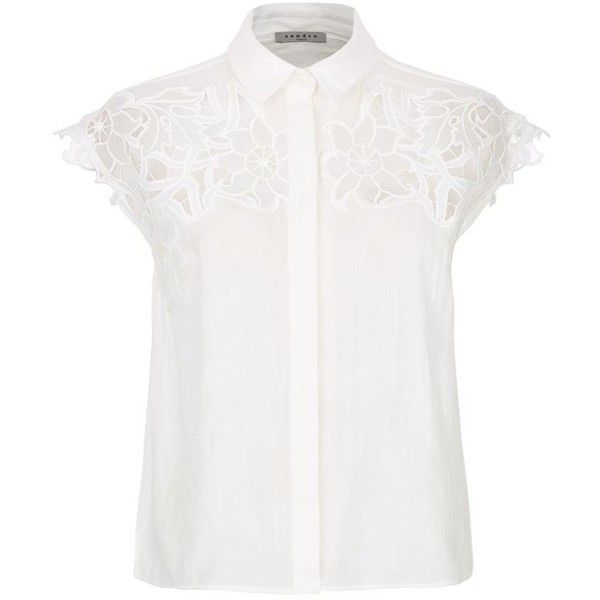d816f8ec3bf664 Sandro Caline Embroidered Sleeveless Blouse ( 290) ❤ liked on Polyvore  featuring tops