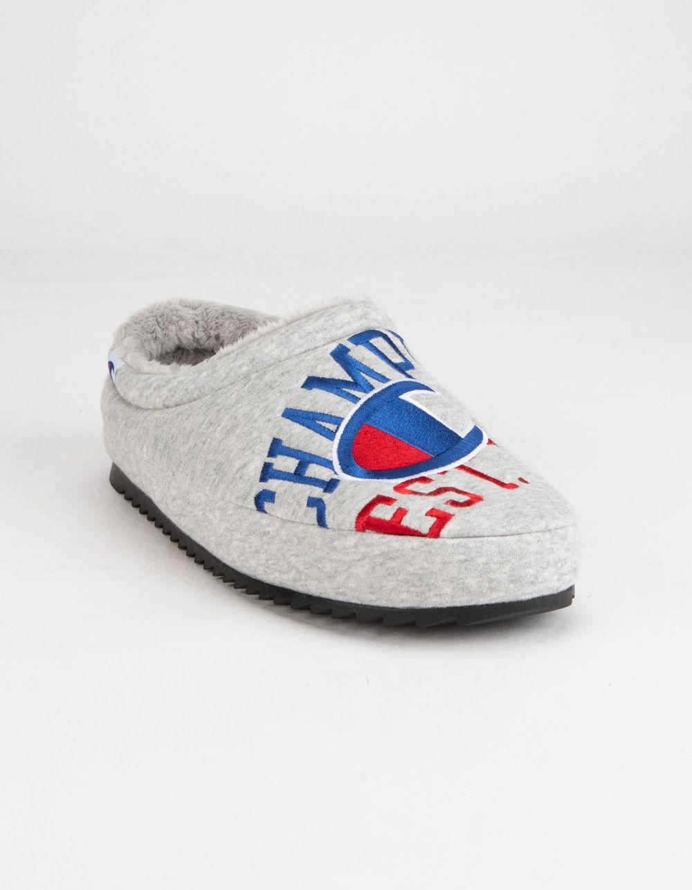 Champion Shuffle Reverse Weave Mens Slippers Gray 380168115 In 2021 Mens Slippers Slippers Athletic Inspired [ 1286 x 1000 Pixel ]