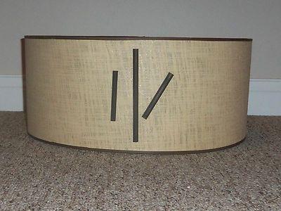 Vntg Retro Mid Century Modern Eames Atomic Fiberglass Drum Lampshade w/Wood Trim