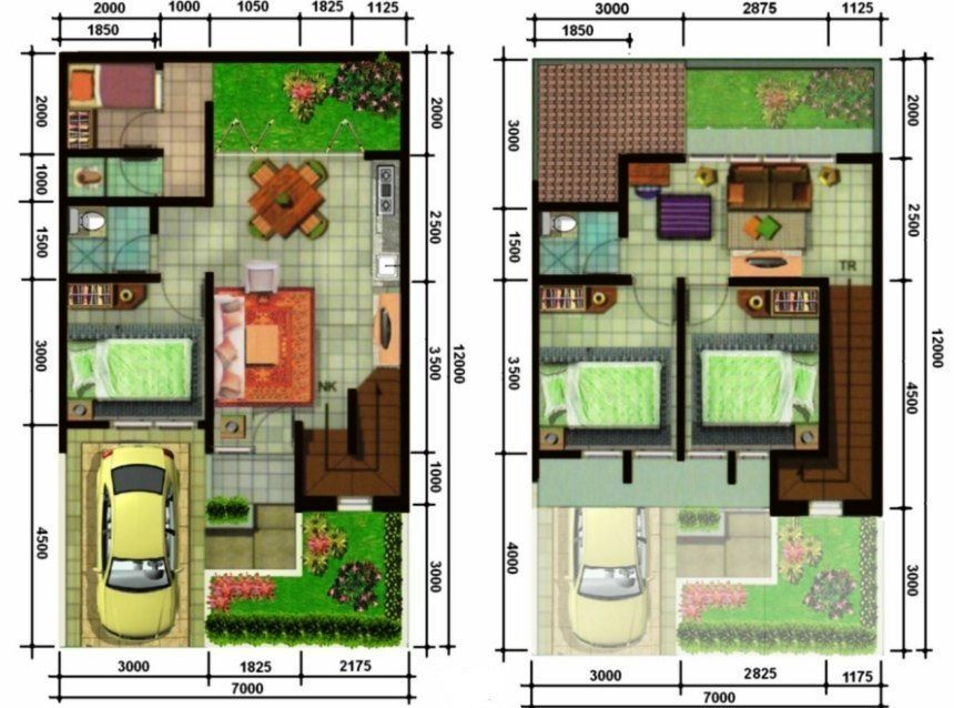 denah rumah 3 kamar lantai 2