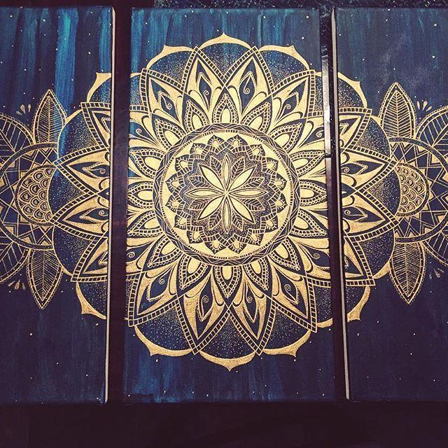 Yeah! Another one!  #mandala #mandalaart #art #painting #acrylicpainting #gold…