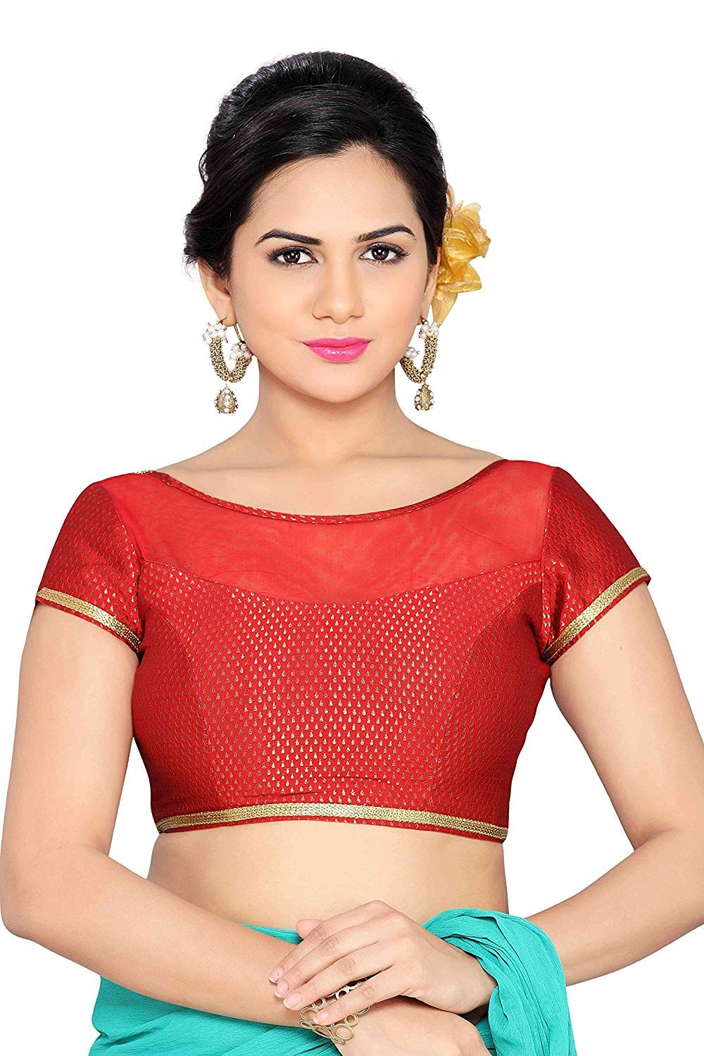 220ebe9fcc Studio Shringaar Fancy Net and Brocade Blouse.: Amazon.in: Clothing &  Accessories