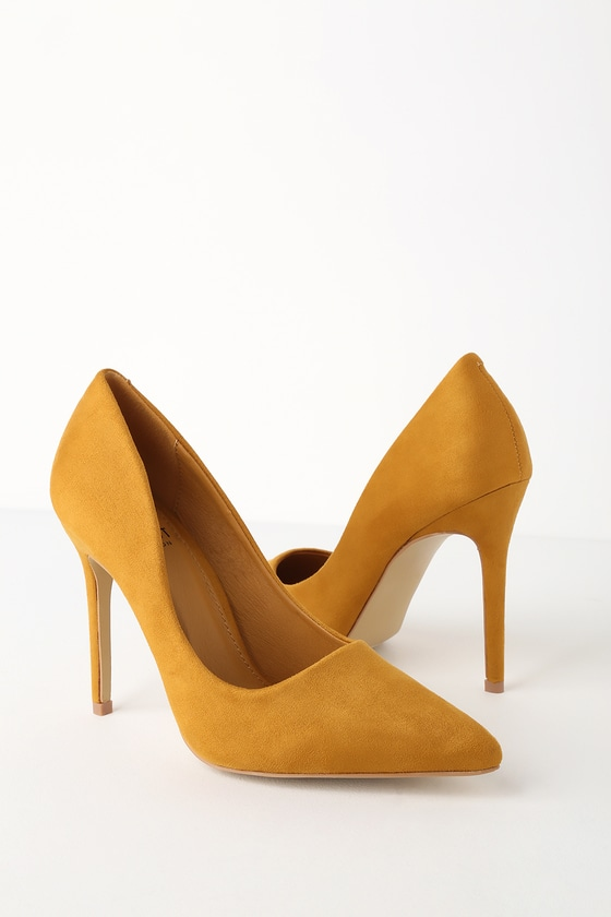 Simona Mustard Suede Pointed Toe Pumps