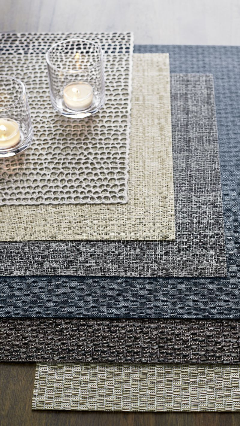 Chilewich Crepe Grey Vinyl Easy Clean Placemat Reviews Crate And Barrel Dining Table Placemats Placemats Modern Placemats