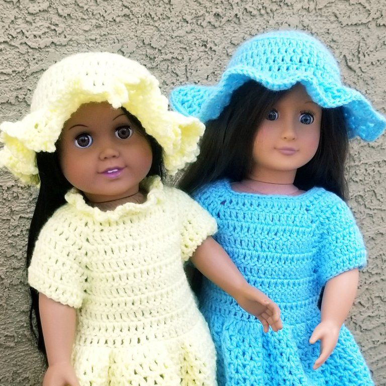 Sun Hat Plain or Ruffled for 18″ Doll