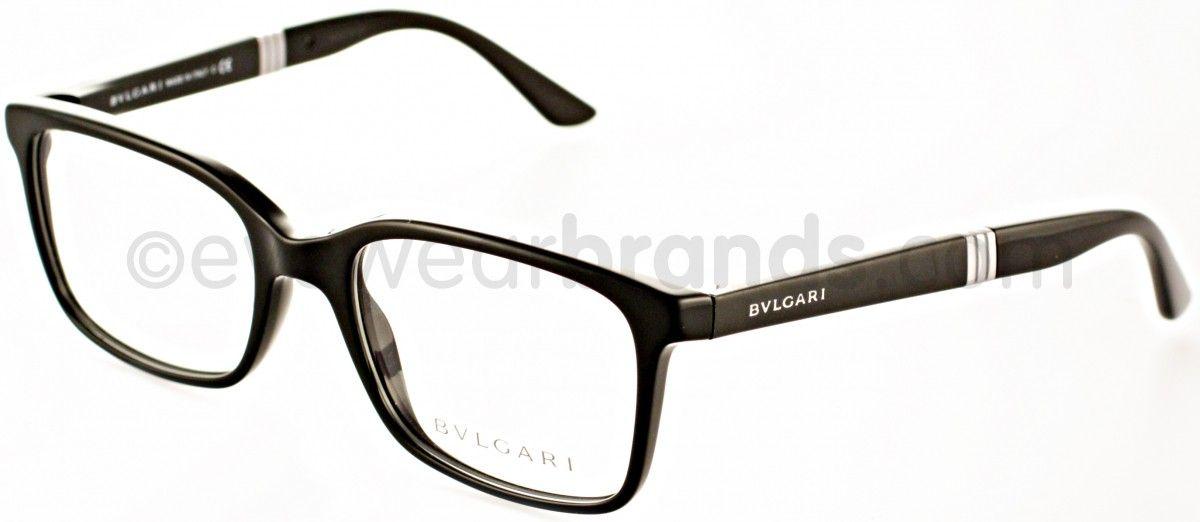c4e943df2a Bvlgari BV3018 501 Black Glasses | Eyewear Brands Monturas De Gafas Para  Hombre, Lentes Ray