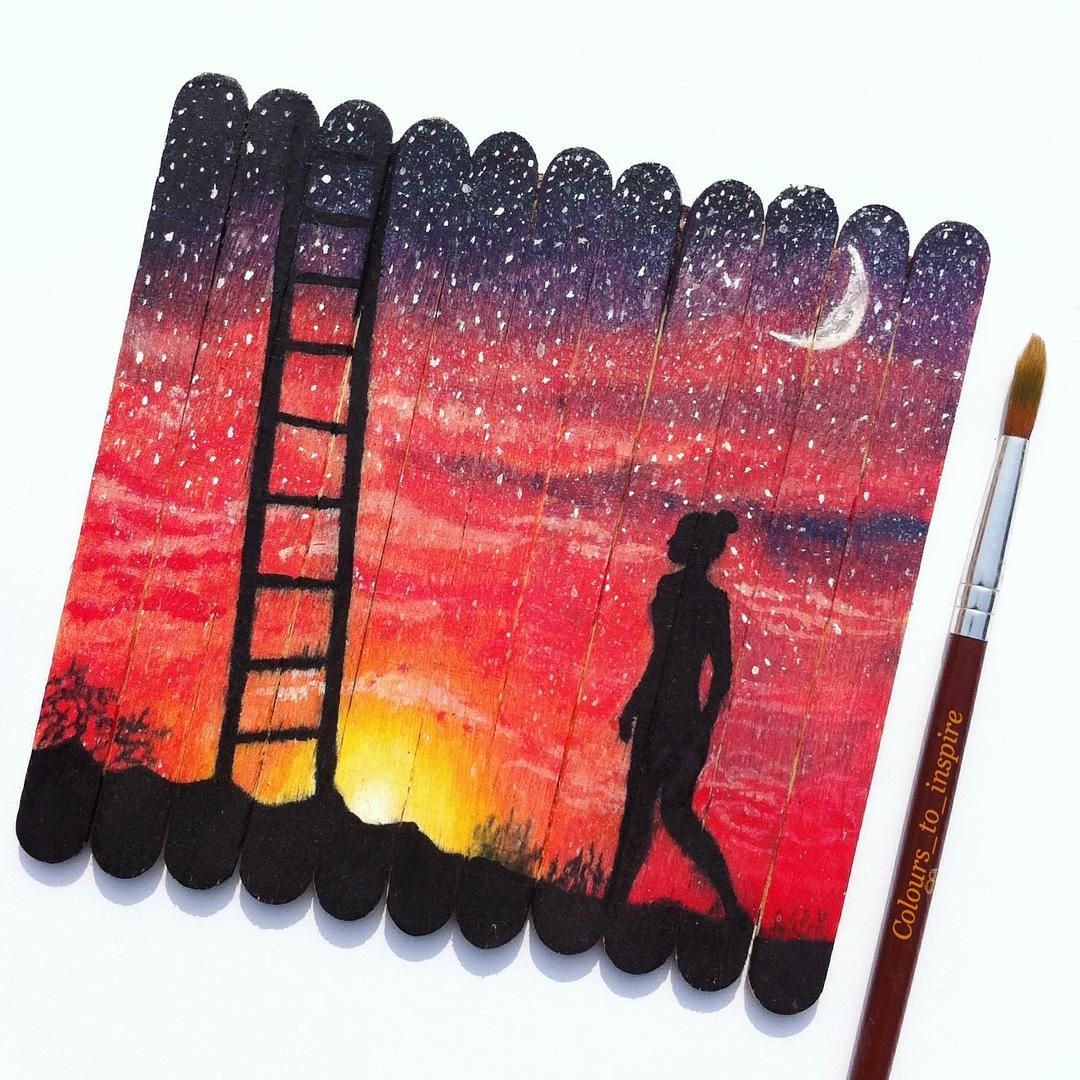 """""""Sunset is the proof that endings can be beautiful. I did this painting on ice cream sticks. It was inspired by a photo of @flawless.daisy. Comment your…"""""""