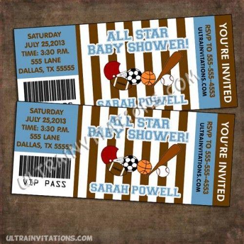 Sports Baby Shower Ticket Invitations