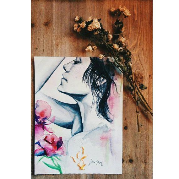 PRINT  feel the rain  watercolor por lapetiteFaFa en Etsy