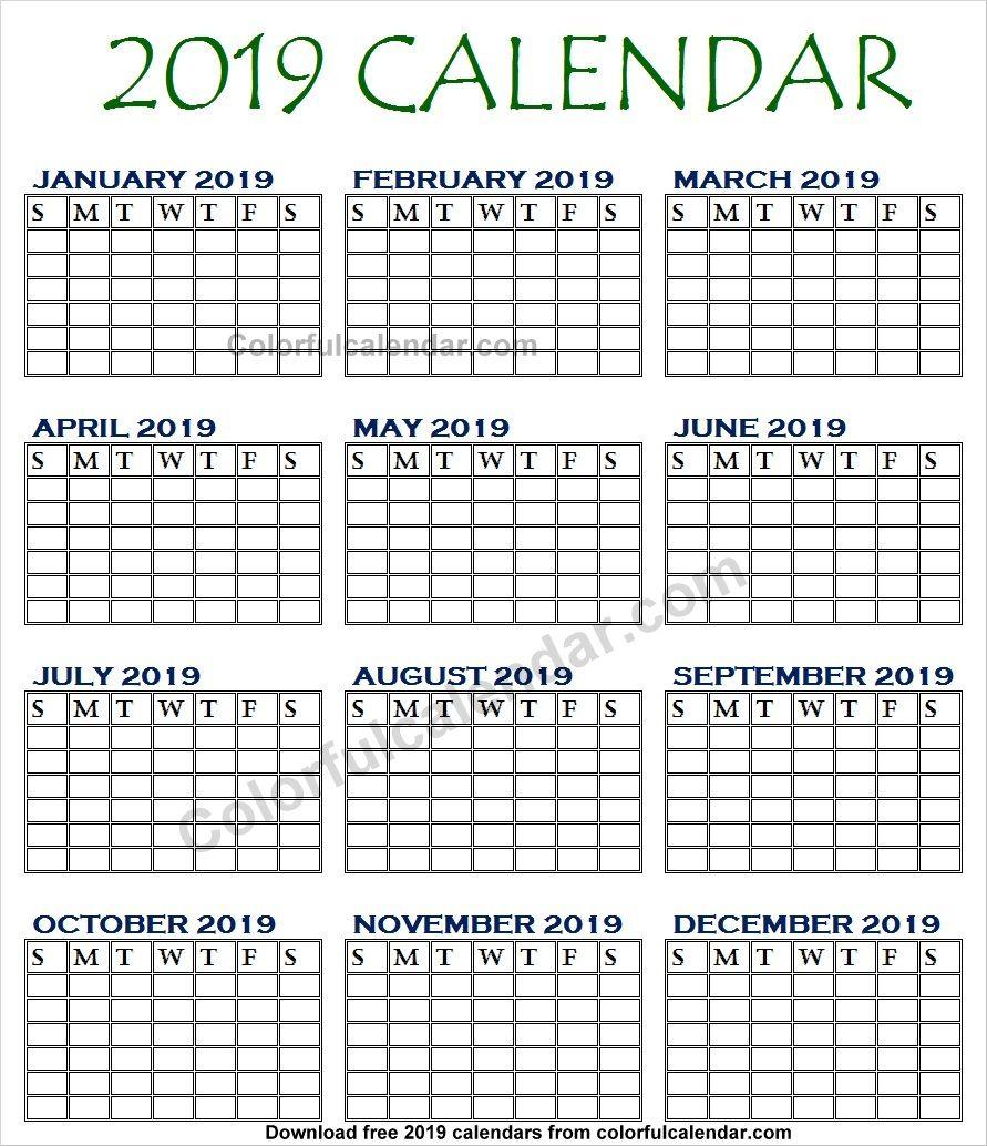 Blank 2019 Calendar Template Designs Calendar Template 2019