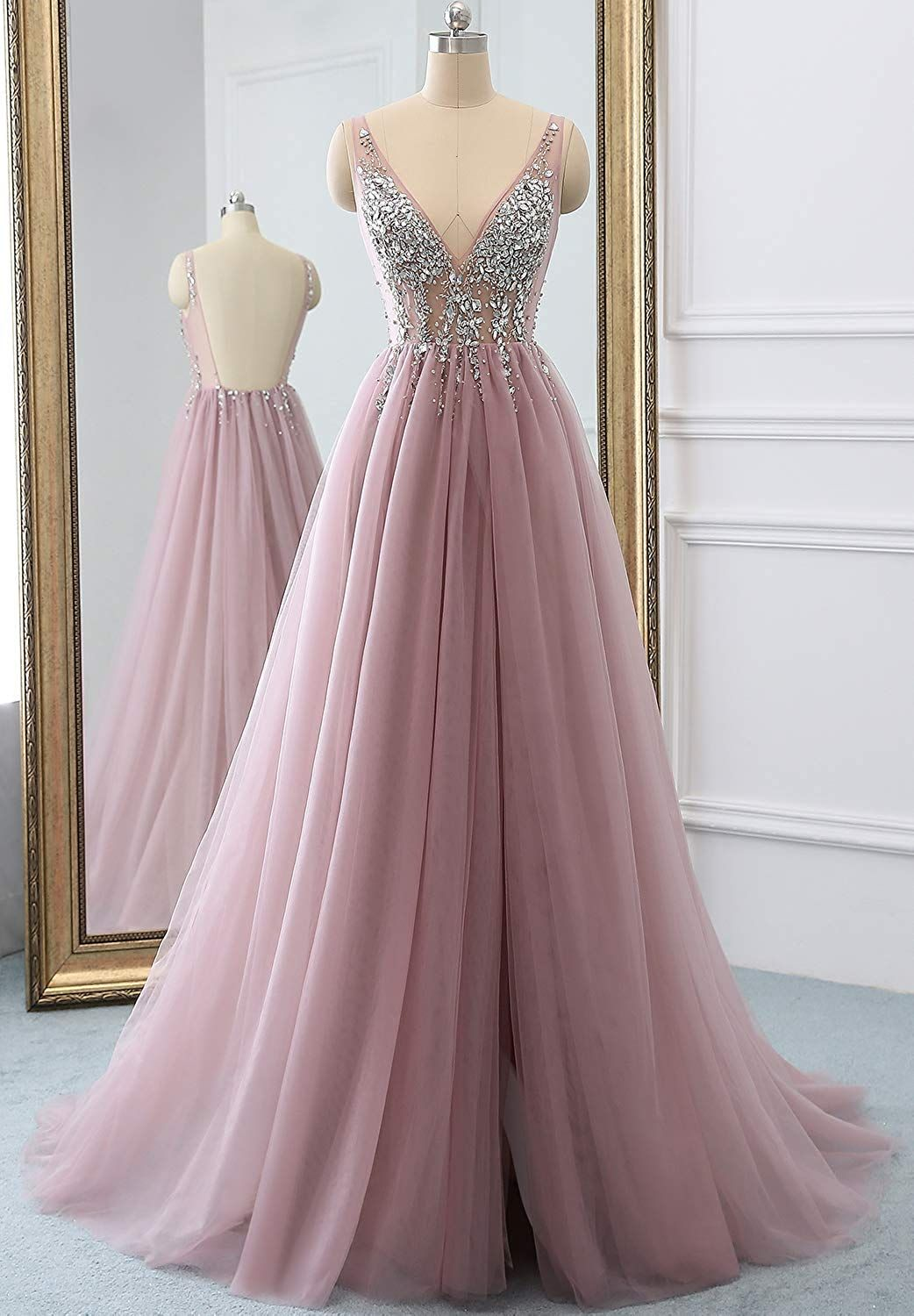Special Occasion Dress Hot Sexy V-Neck Beaded Open Back Tulle Split Long Evening  Prom Dresses at Amazon Women s Clothing store  9f50dee9f