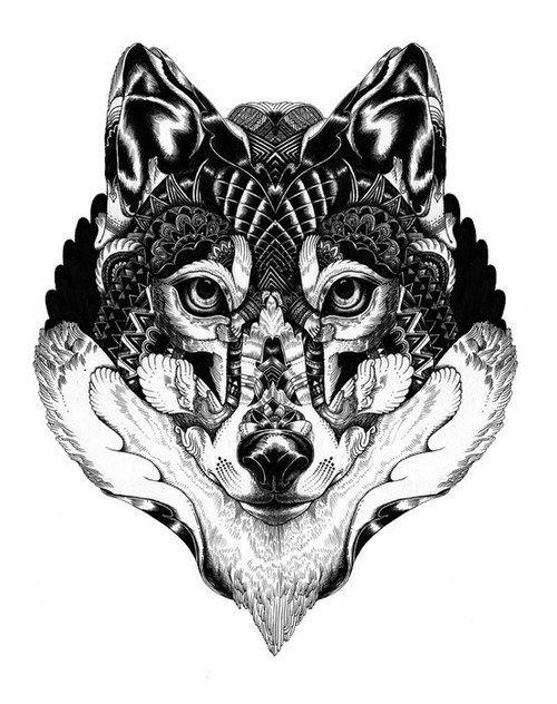 Mandala loup t a t o o pinterest loups - Tatouage loup mandala ...