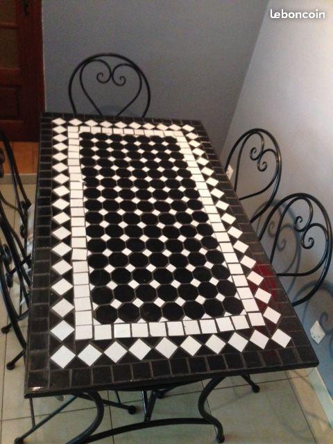 Table rectangulaire mosaïque et fer forgé + 6 chai | Table ...