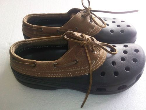 493d3197174e CROCS ISLANDER Leather Cove ALL TERRAIN Boat CLOG Shoe Black Brown Men Size  11