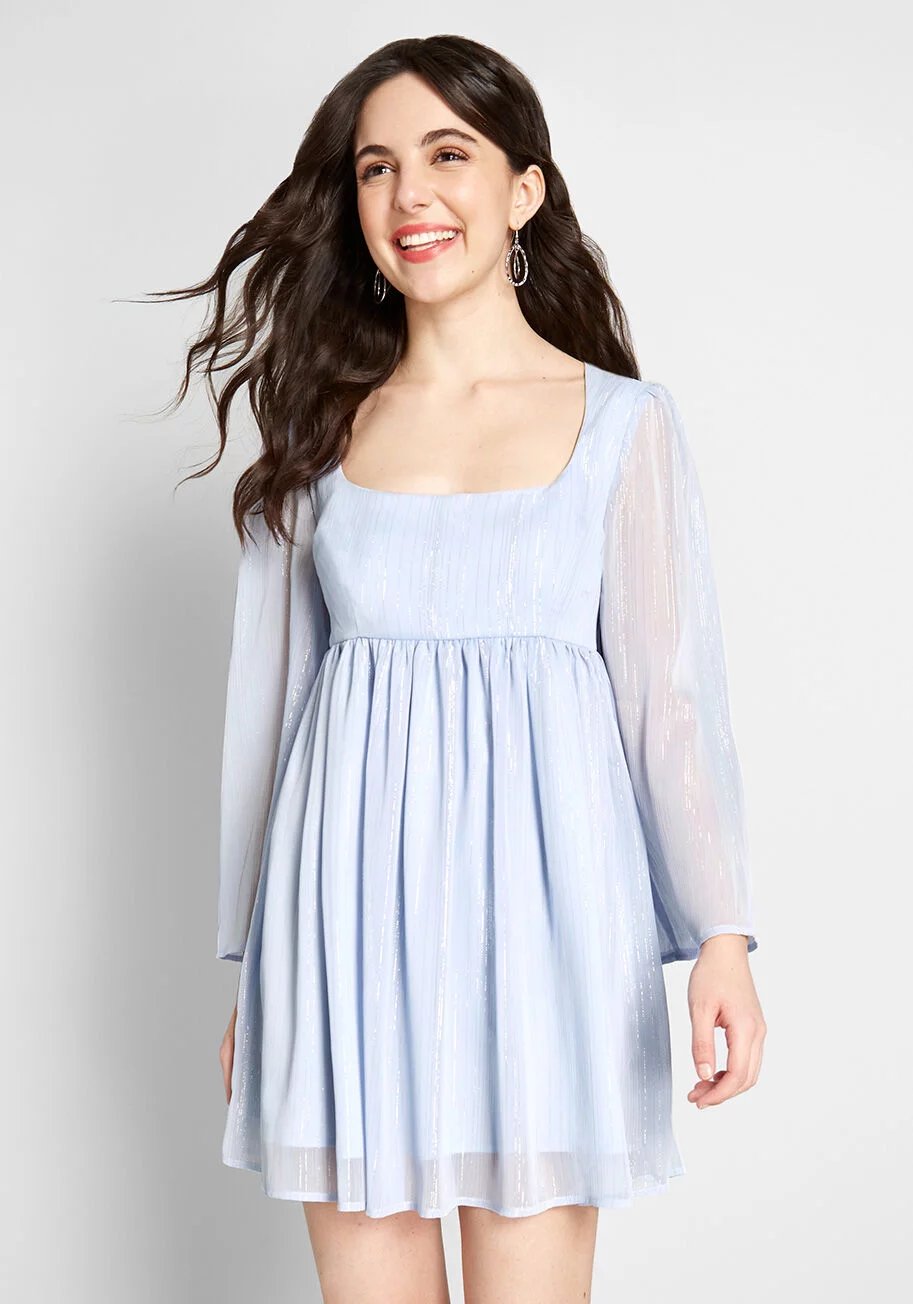 Modcloth Sweet Sixties Babydoll Dress Periwinkle Modcloth Babydoll Dress Fashion Dresses
