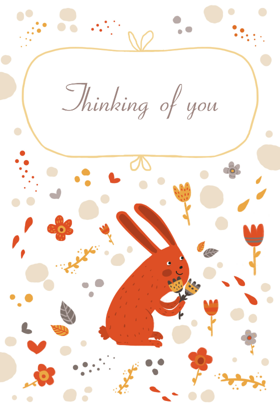 Thinking Of You Bunny Easter Card Free Greetings Island Easter Printables Free Free Printable Card Templates Easter Invitations