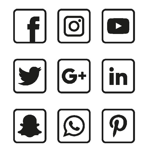Social Media Black Icons Set, Social, Media, Icon PNG and