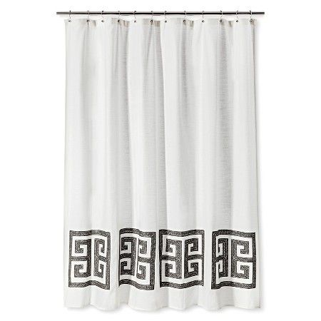 Threshold™ Greek Key Shower Curtain : Target | Black and white rooms ...