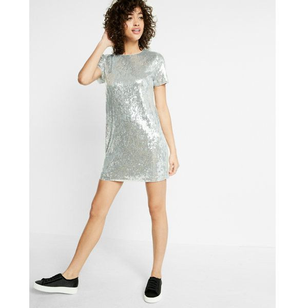 Express Sequin Short Sleeve Mini Dress ($108) ❤ liked on Polyvore ...
