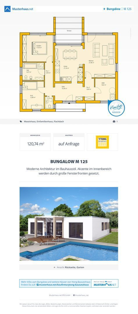 Bungalow Grundriss, Massivhaus, Bauhausstil, 120m², offene