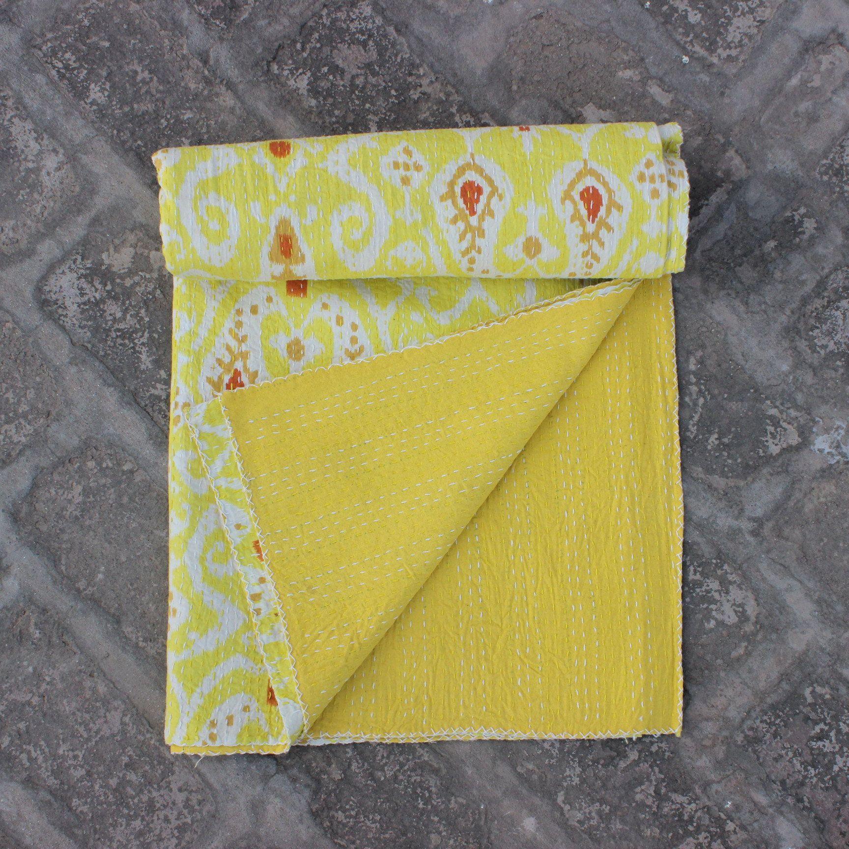 Handmade Kantha Quilt vintage Bedspreads Blanket Throw stitched Gudar 3221 BY artisanofrajasthan