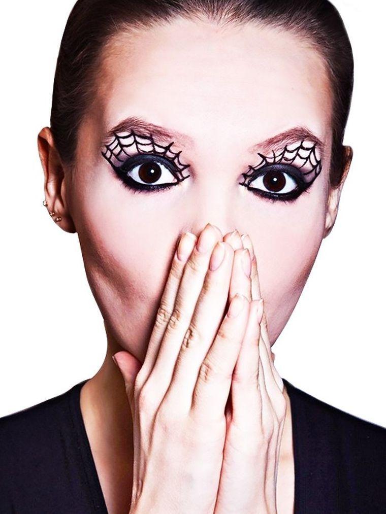idée de maquillage Halloween fille facile avec toile d\u0027araignée