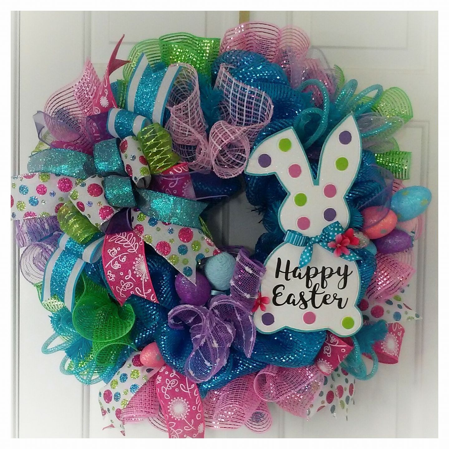 Easter Bunny Multi Colored Door Wreath Oh So Colorful And