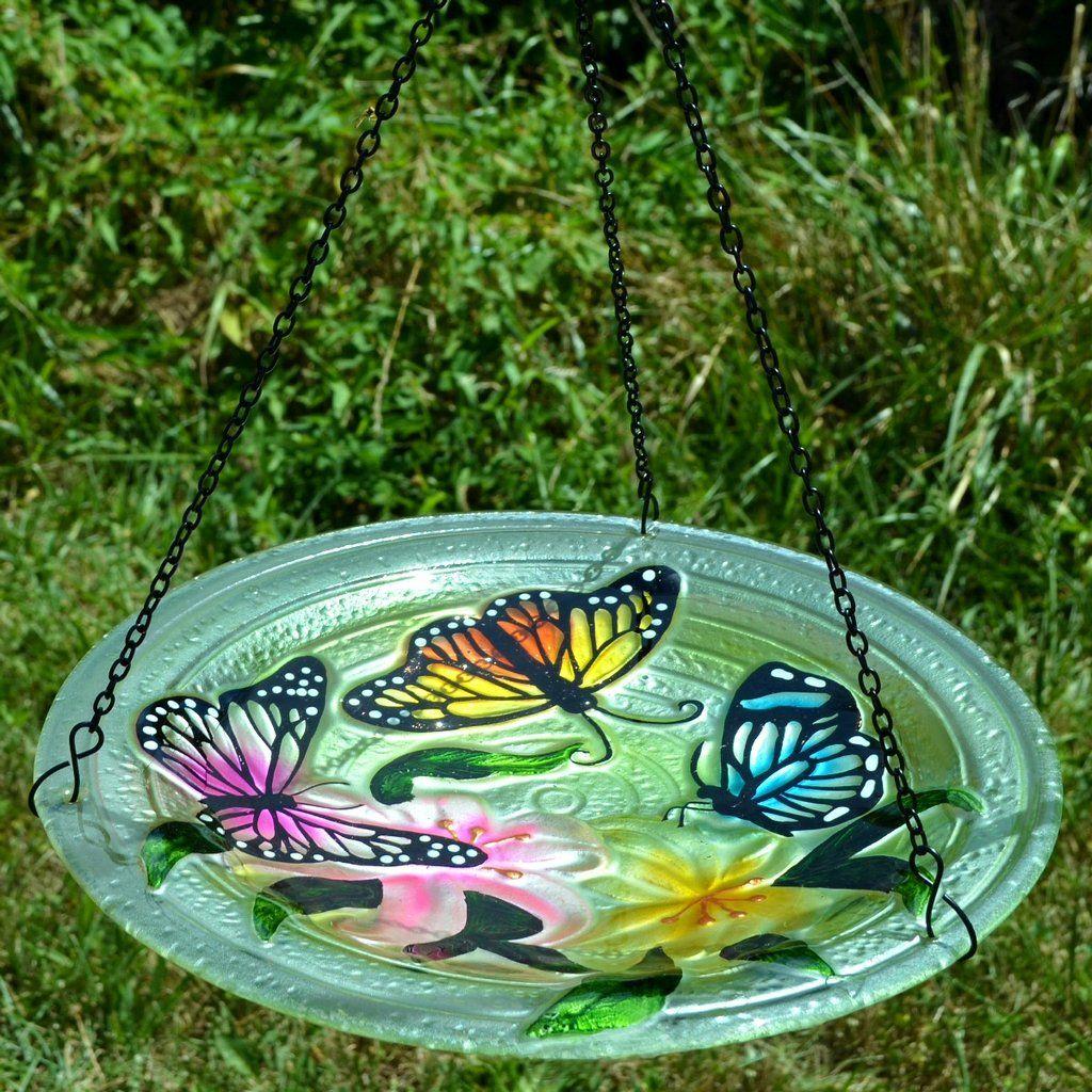 Butterflies Glass Hanging Bird Bath Hanging Bird Bath Glass