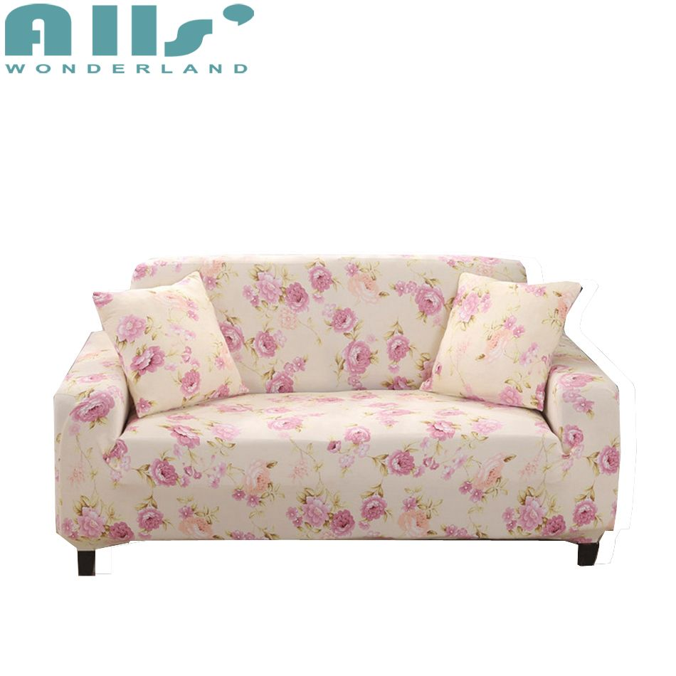 Elastic Furniture Covers Pink Flower Modern Decoration L Shaped Sofa Cover Stretch Recliner Slipcover 1pc Free Cushion Cover Sliprcover Sofacover Home Decor