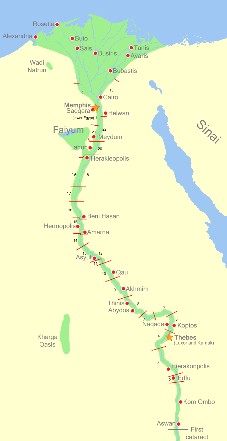 Map of Administrative Districts of Pre-Dynastic Upper Egypt ...