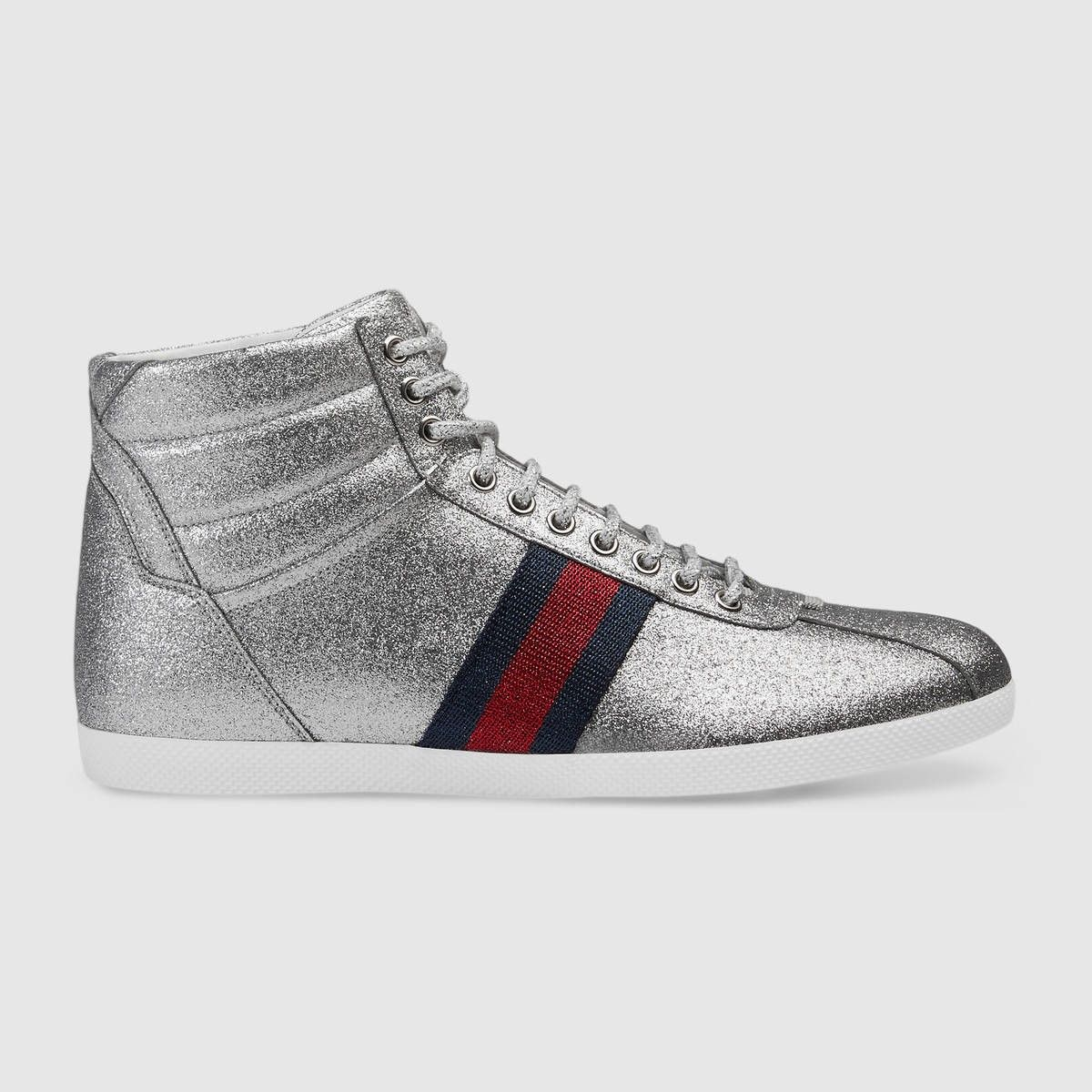 4ff3ddb0df83 GUCCI Glitter Web High-Top Sneaker - Silver Glitter Fabric.  gucci  shoes   all