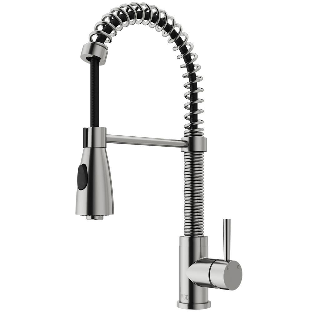 VIGO Brant Single-Handle Pull-Down Sprayer Kitchen Faucet in ...