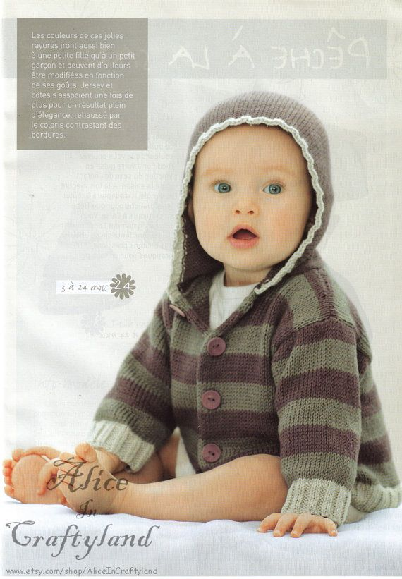 ENGLISH Baby Knitting Pattern Hooded Striped Sweater Jacket Coat PDF Baby k...