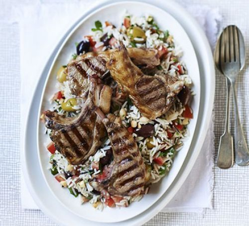 Griddled lamb with wild rice salad