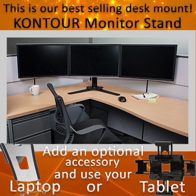 Kontour Monitor Stand For Dual Or Triple Monitors 27 To 30 Inch