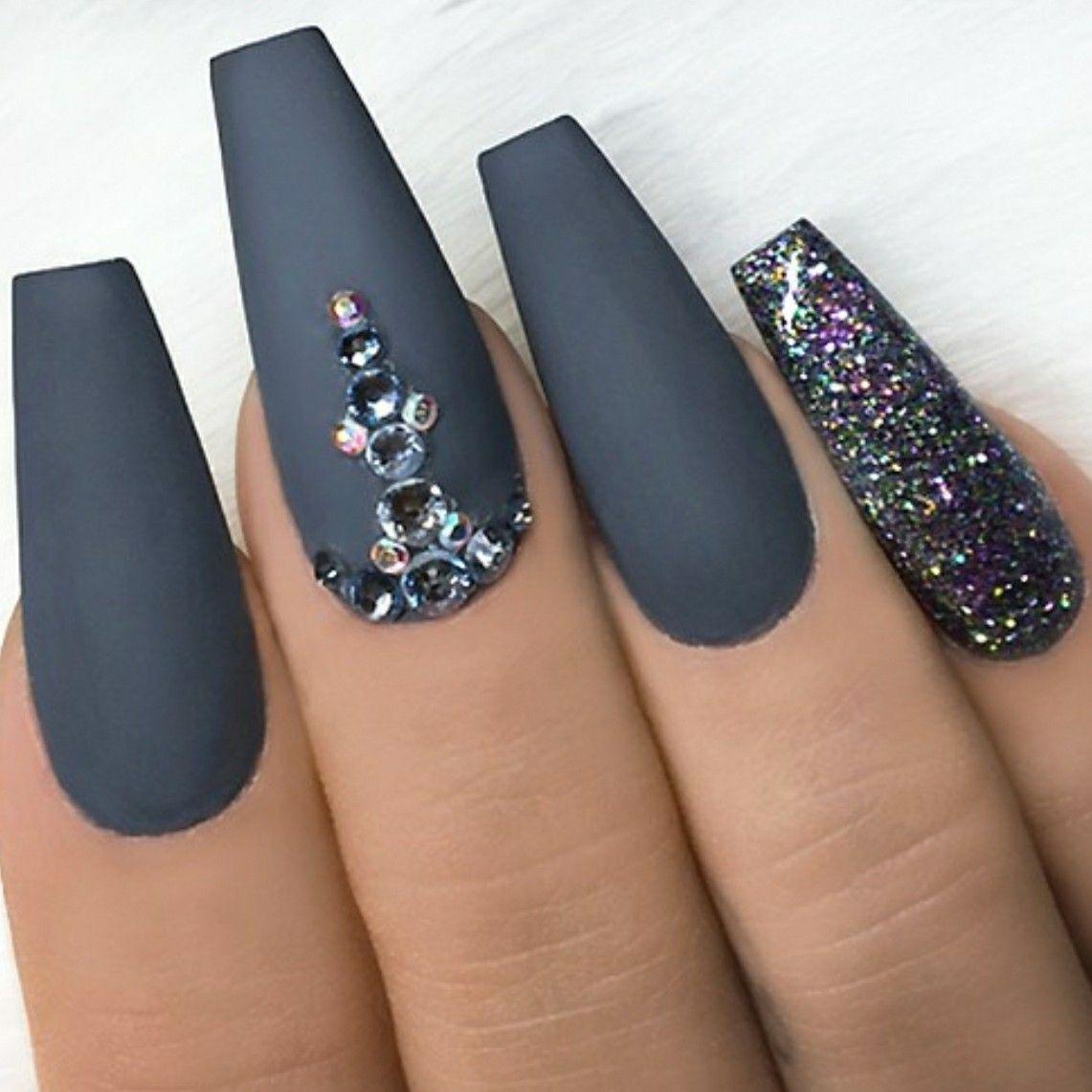 Grey Matte Nails. Nails With Rhinestones. Glitter Nails. Ballerina ...