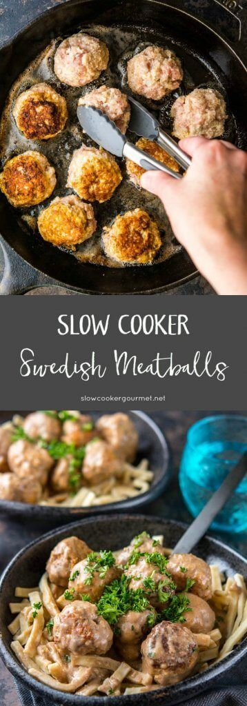 Slow Cooker Swedish Meatballs with hearty egg noodles is the perfect comfort food to cozy up to on a cold winters' night! #sponsored #reames