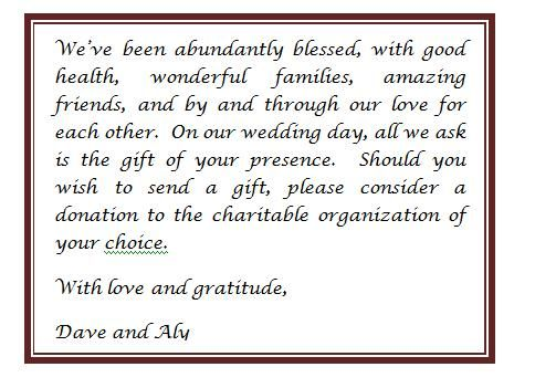NO GIFTS PLEASE Enclosuremaybe Skip The Donation Part And Make Insert Look A Little Nicer Match Wedding Invitation