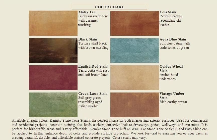 Brick stain home depot kemiko acid stain color chart for Home depot masonry paint