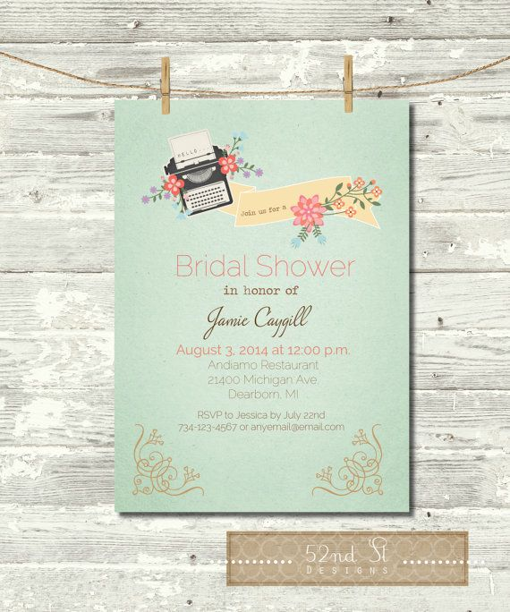 Vintage Bridal Shower Invite by 52ndStreetDesigns on Etsy, $10.00