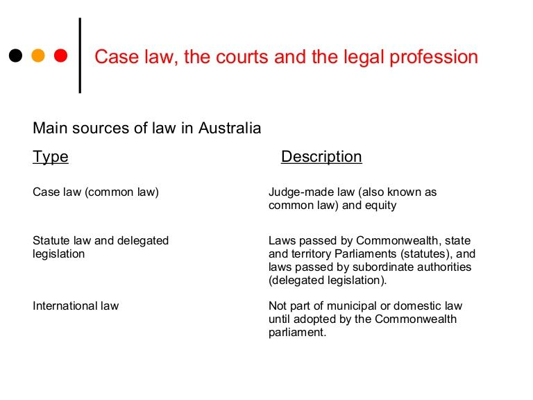CASE LAW, THE COURTS, AND THE LEGAL PROFESSION  This