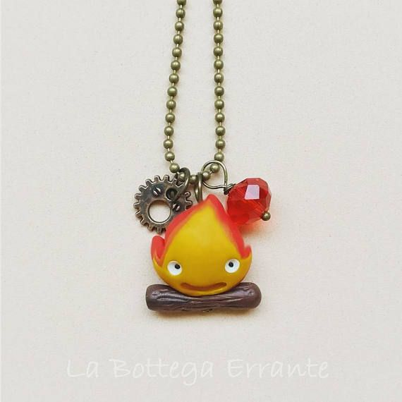 Howl/'s Moving Castle Inspired Fire Calcifer Movie Vintage Charm Necklace