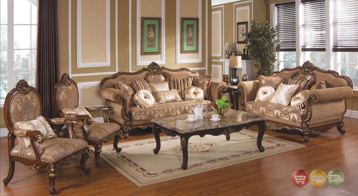 Michael Amini Cortina Luxury Bedroom Furniture Set Honey Walnut Finish By AIC