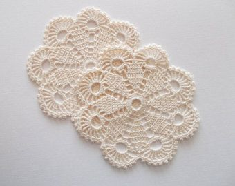 Crochet Coaster Set White Cotton Lace 6 Pieces Heirloom Quality