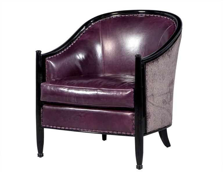 Pair Of Art Deco Lounge Chairs In Dark Purple Leather 2 L Art