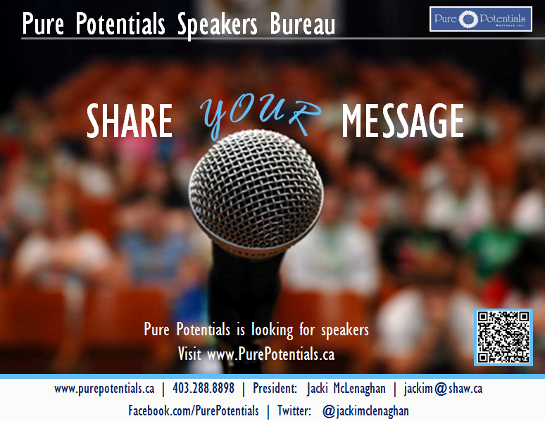 Join us on May 5 at Self Connection Books in Calgary for the opportunity to showcase your speaking skills, and to discover if being part of the Bureau is right for YOU. We will be holding interviews all day, and we are inviting you to be a part of this supportive speaking community. Please call 1-403-288-8898 or email jackim@shaw.ca for more details!