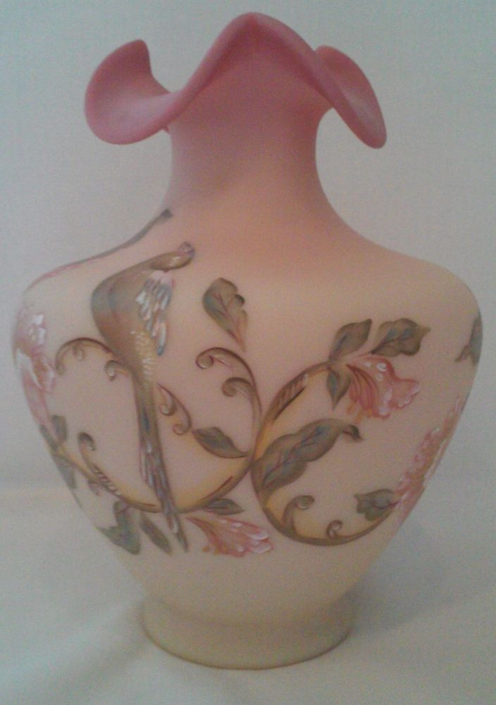 Large Fenton Burmese Vase Hand Painted Numbered And Signed