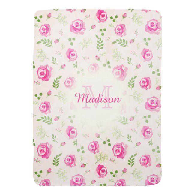 Pink Rose Floral Monogram Pastel Baby Girl blanket #floral #monogram #pastel #monogram #pastel